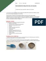 Practica Peso Especifico Relativo de Los Solidos