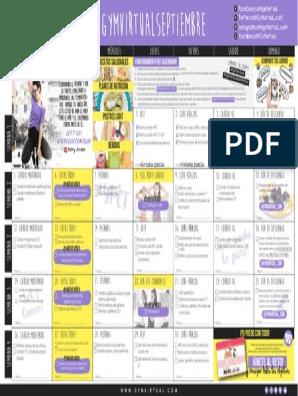Calendario Septiembre Gymvirtual.Calendario Septiembre Gym Virtual 2016