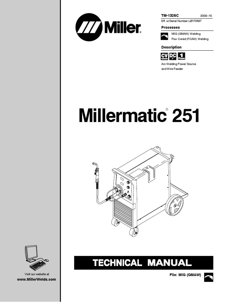 Millermatic 251andm 25gun Lb170597pdf Welding Switch Motorguide Mg 28 Wiring Diagram