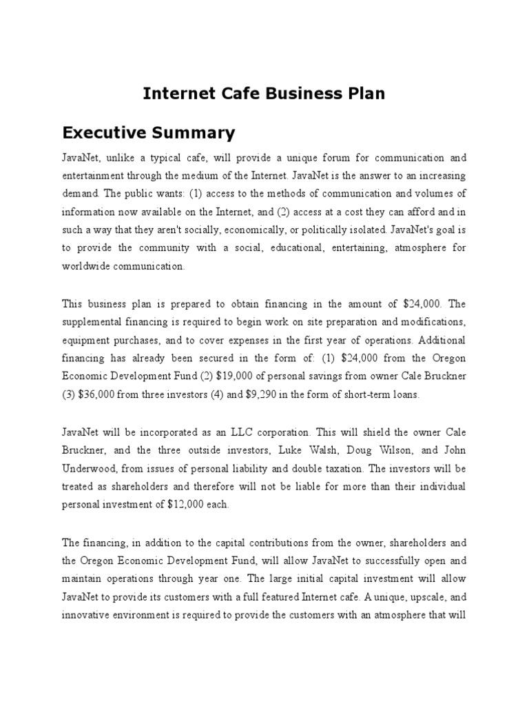 Internet cafe business plan internet strategic management flashek Gallery