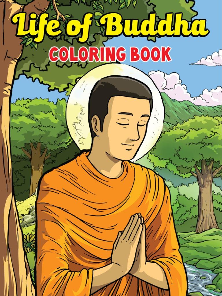 English Life Of Buddha Coloring Book