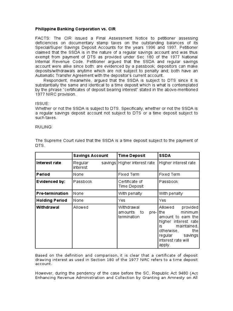 Phil  Banking Corp  vs CIR doc | Deposit Account