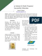 Microstrip Antenna for Radio Frequency Nanosatellite Subsystem [English Version]