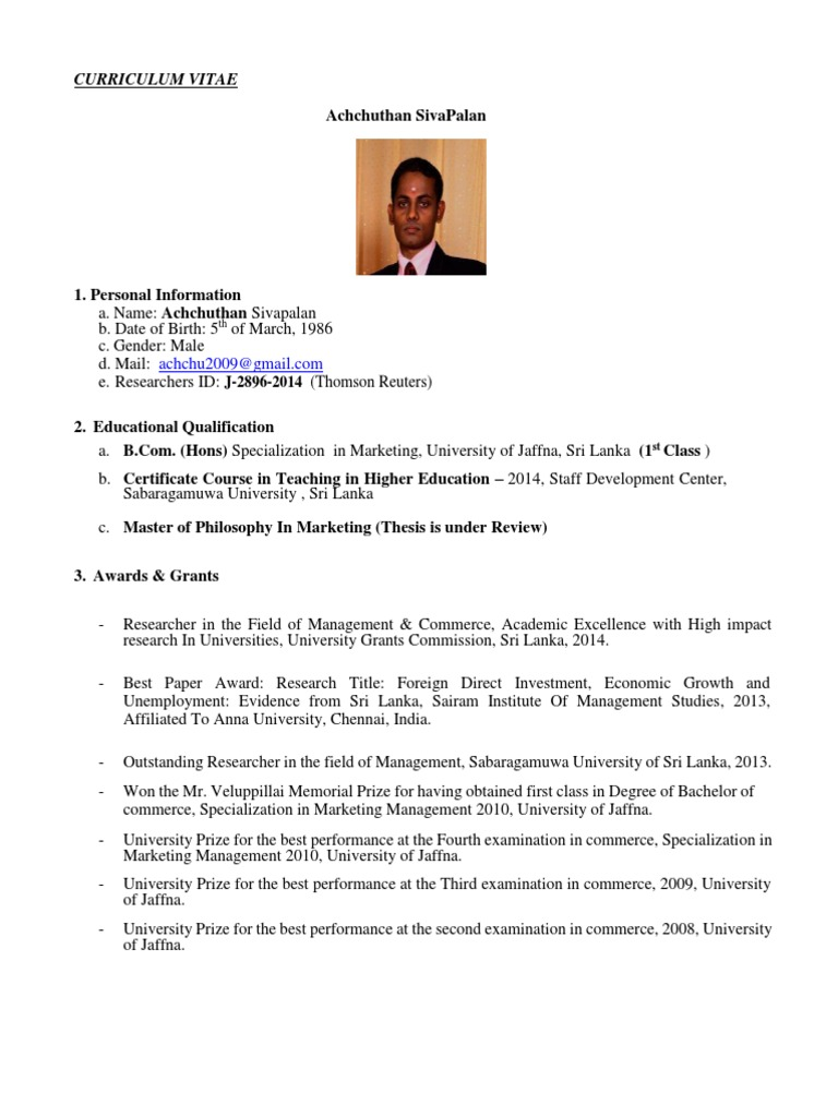 Cv Achchuthan Aus Sri Lanka Governance