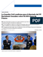 La Guardia Civil Confirma Que El Diputado Del PP Bartolomé González Cobró 60