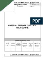 ESCL SOP 014, Materials Store Control Procedure