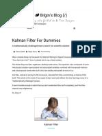 Kalman Filter For Dummies