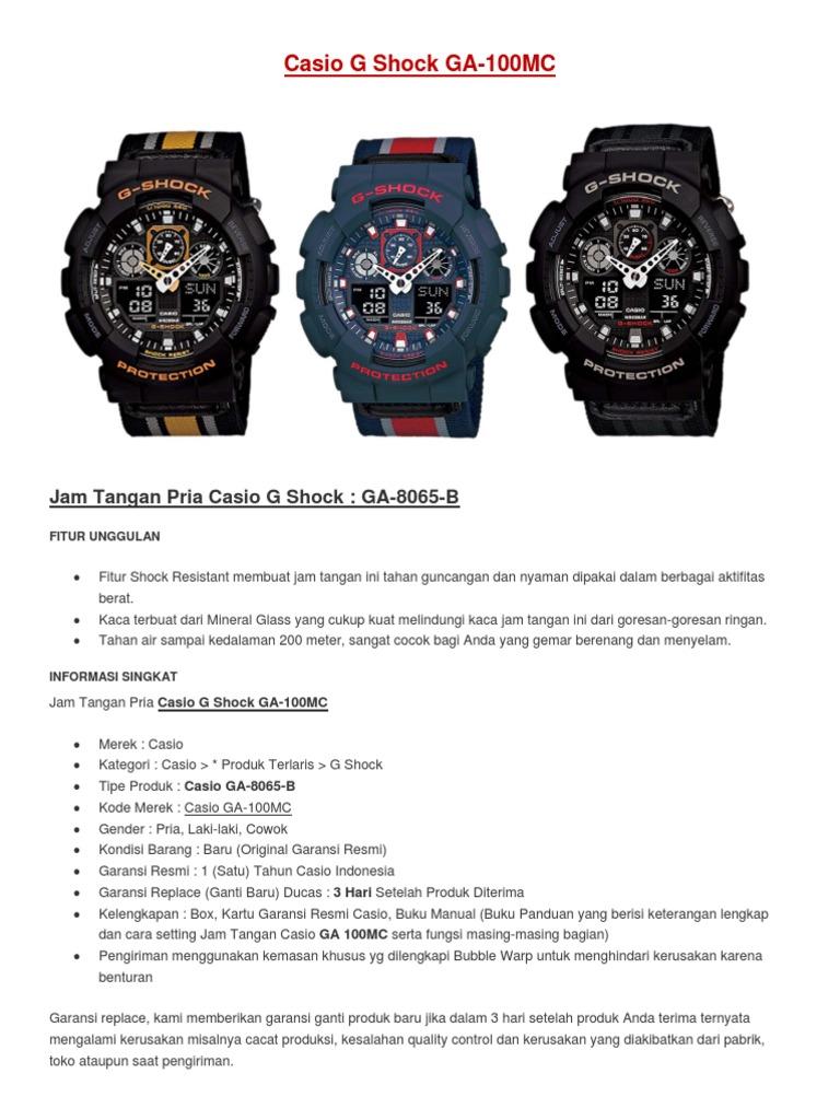 Harga Dan Spek Casio G Shock Ga 100cs 9adr Jam Tangan Pria Terbaru 100a Analog Digital 100 Series Tali