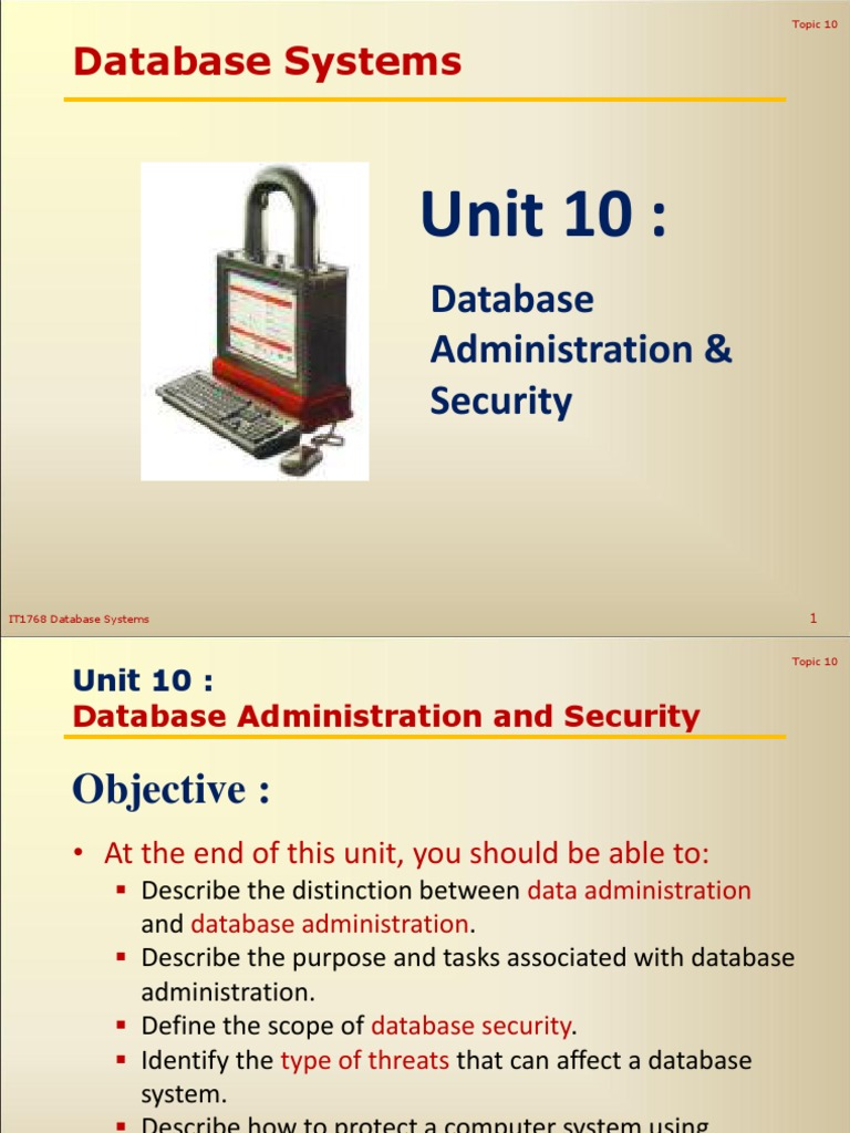 Lecture 10 Database Administration And Securitypdf Malware Security Authorization Dbms Databases
