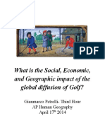 What is the Social, Economic, and Geographic impact of the global diffusion of Golf?