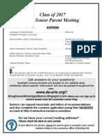 Fall Senior Parent Meeting 2016-2017