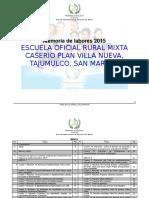 Memoria de Labores 2015 Eorm Plan Villa Nueva Severiano