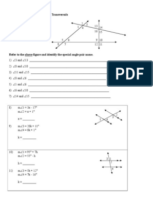 Worksheet on Parallel Lines and Transversals