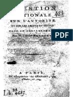 Question Nationale Sur l'Autorité Et Sur Les Droits Du Peuple dans le Gouvernement - abbé Barruel