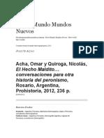 Acha Omar y Quiroga Nicolás El Hecho Maldito… Conversaciones