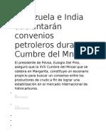 Venezuela e India Adelantarán Convenios Petroleros Durante Cumbre Del Mnoal