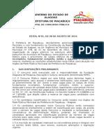 Edital Prefeitura Municipal de Piaçabuçu 2016
