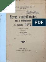 HUBER J - Novas contribuições para o conhecimento do gênero Hevea 1913
