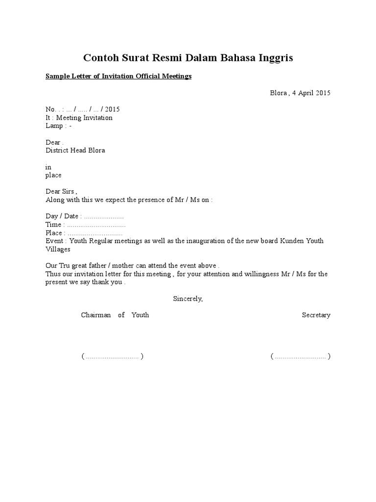 46++ Contoh surat resmi dalam bahasa inggris pdf terbaru yang baik dan benar