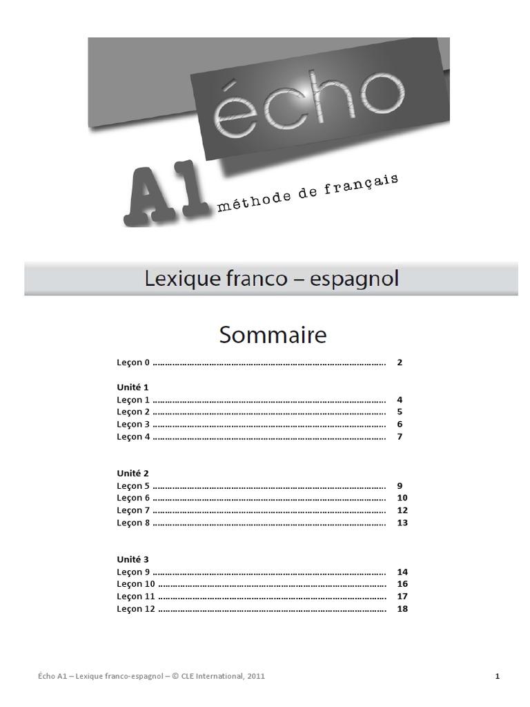 Lexique Francais Espagnol Echo A1