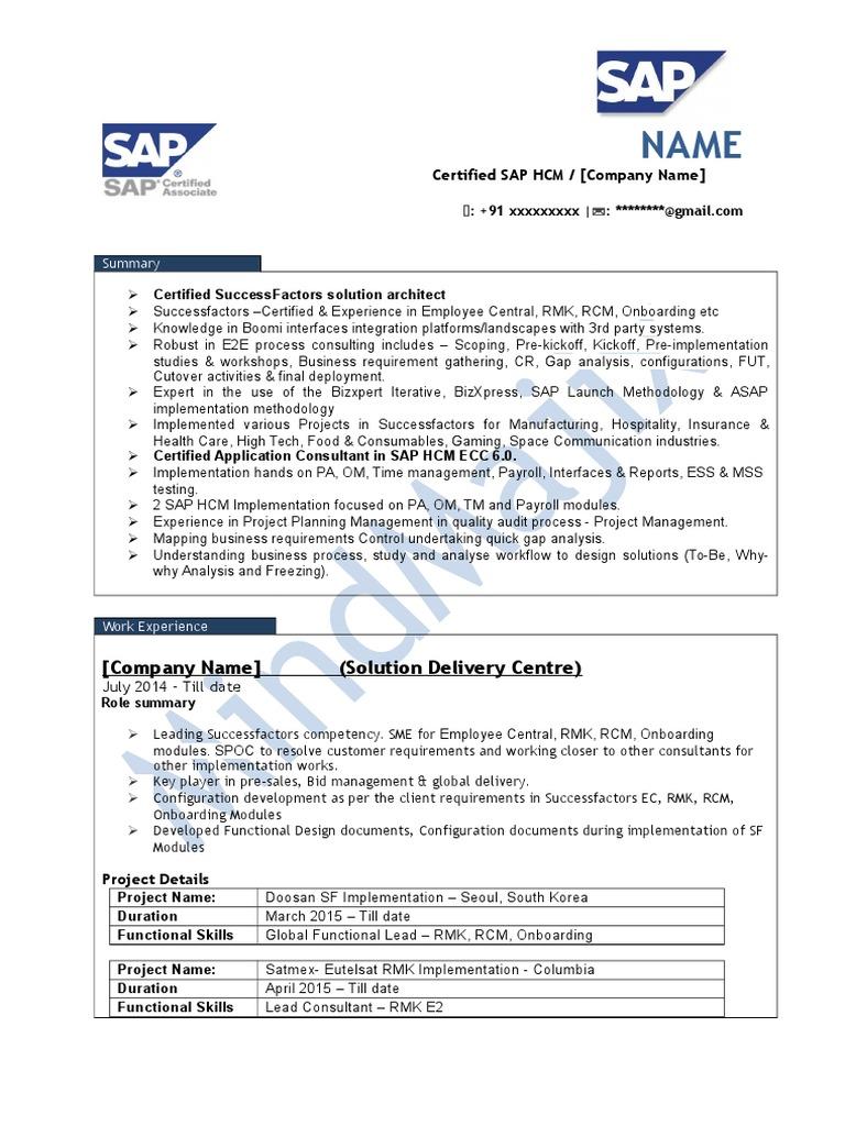 sap successfactors sample resume 1  nómina de sueldos
