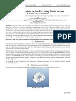 Engineering journal ; Mold Flow Analysis on Fan Part using Plastic advisor