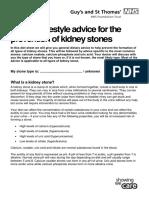 Diet Lifestyle Advice Kidney Stones