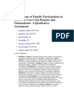 Perceptions of Family Participation in Intensive Care Unit Rounds and Telemedicine