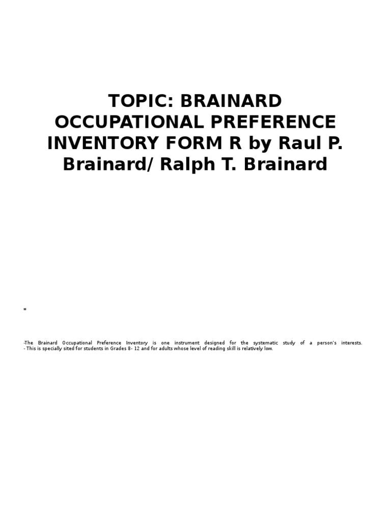 BRAINARD OCCUPATIONAL PREFERENCE INVENTORY PDF