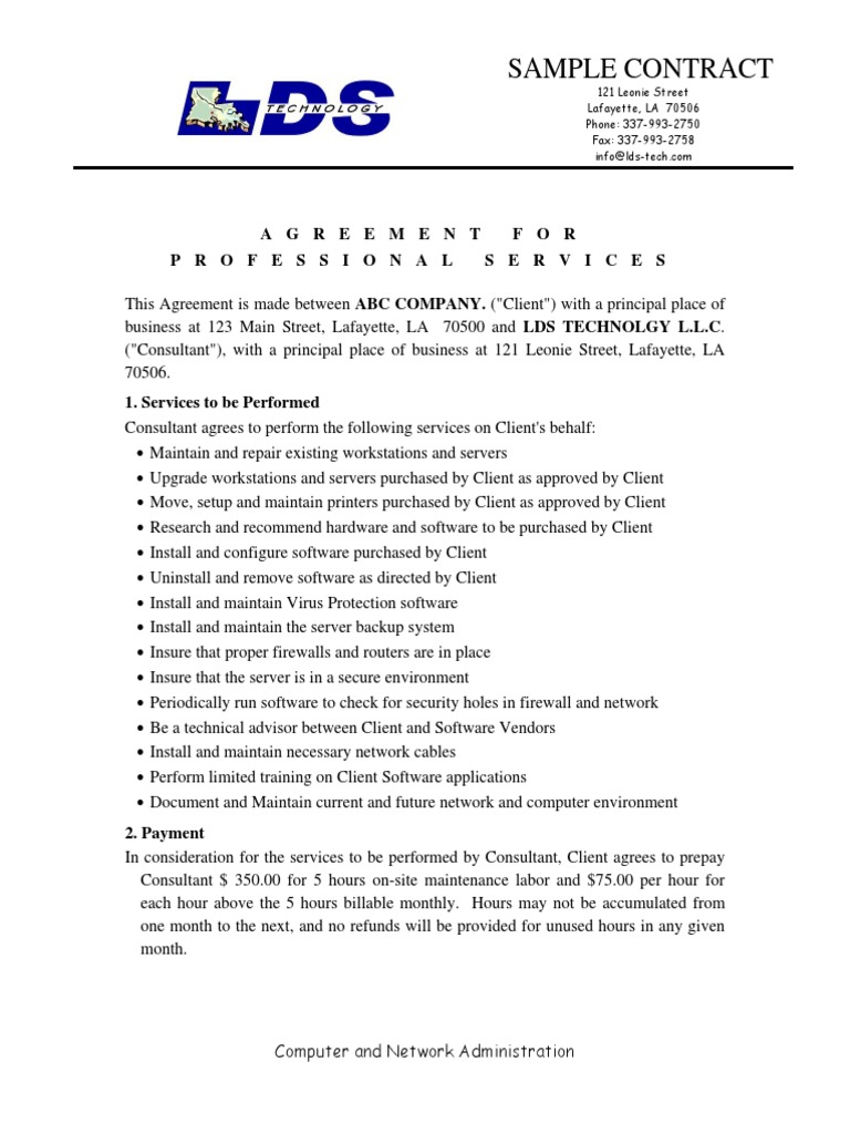 sample contract pdf | Federal Insurance Contributions Act
