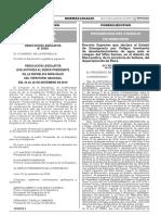 Decreto Supremo que declara el Estado de Emergencia por Peligro Inminente de desabastecimiento de agua ante el colapso del Sifón Samán en el distrito de Marcavelica de la provincia de Sullana del departamento de Piura
