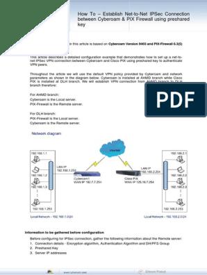 How to - Establish VPN Tunnel Between Cyberoam and CISCO PIX