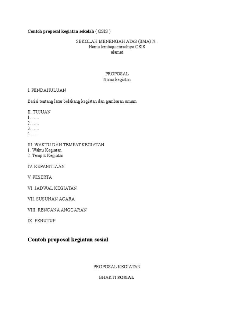 Contoh Proposal Tentang Kegiatan Sekolah Ilmusosial Id