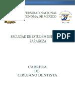 Plan de Estudios de FES Zaragoza Cirujano Dentista