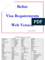 Visa Requirements for Belize 2015 -Web Version