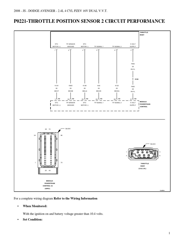 Wiring Diagram For 08 Dodge Avenger Electronic Throttle Control Position Sensor Pdf Electrical Connector Ignition System Circuit