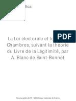 """""""La Loi électorale et les deux Chambres"""", par Antoine Blanc de Saint-Bonnet"""