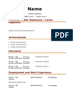 Health and Safety Blank CV