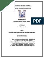 Evolucion de La Legislacion Del Trabajo en El Salvador
