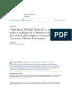 ¿PÉRDIDA O PERSISTENCIA- La Cultura Andina y Los Efectos de La In