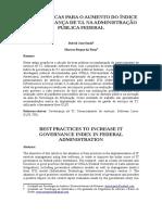 Boas Práticas Para o Aumento Do Índice de Governança de T.I. Na Administração Pública Federal
