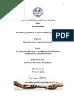 Articulo Cientifico La Educación Física en El Nivel Primario Del Sistema Dominicano de Educación General