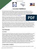 Evaluation of Corrosion Inhibitors
