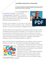 Impacto de Las Redes Sociales en La Educación