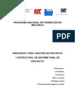 Estructura Para La Elaboracion Del Informe de Proyecto Socio Tecnologico 2015.