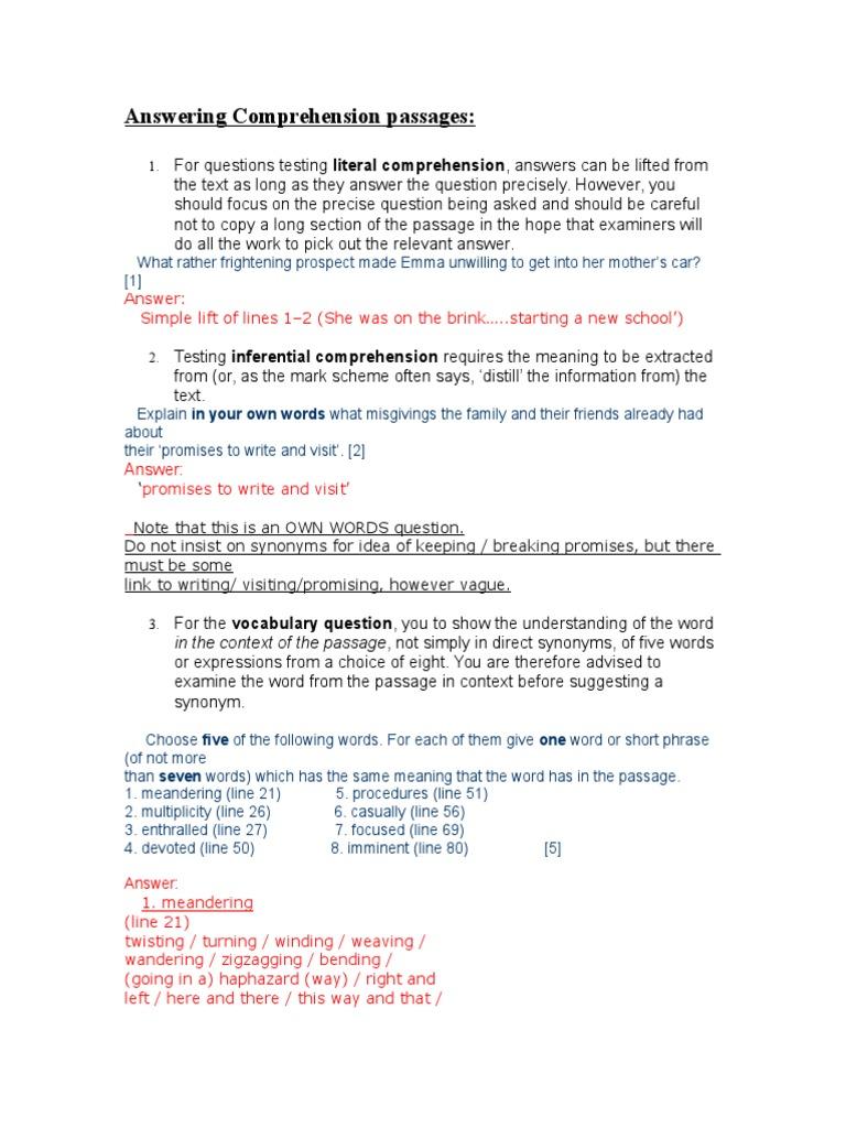 - Answering Comprehension Passages.doc Reading Comprehension Grammar