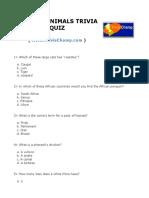 African Animals Trivia Quiz
