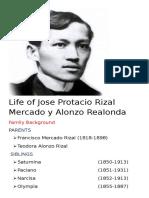 Life of Jose Protacio Rizal Mercado y Alonzo Realonda
