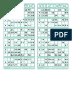 1-90 British Bingo Cards