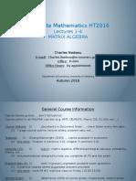 Matrix Algebra 2016